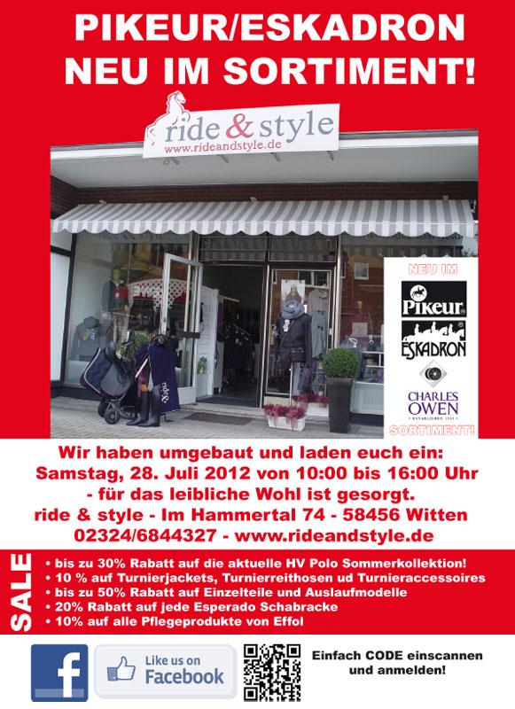 ride & style 28. Juli von 10:00 bis 16:00 Uhr Angebote-Party Pikeur, Eskadron und mehr.