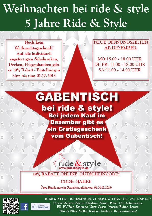 Weihnachten bei ride & style 2013