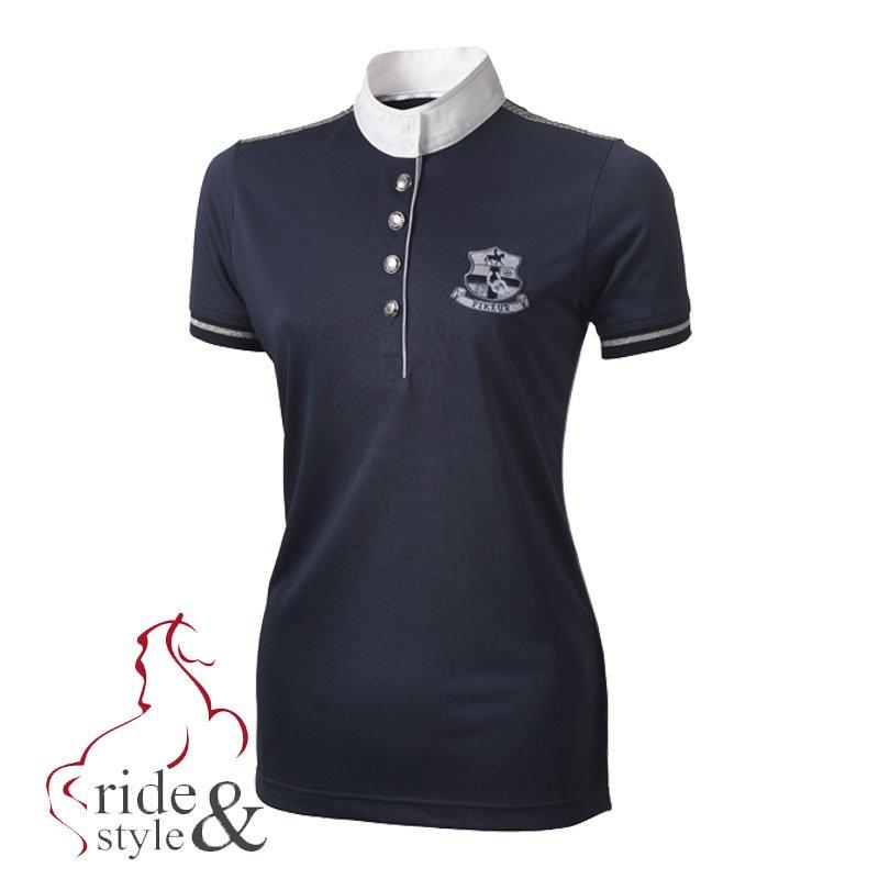 Pikeur-Damen-Turniershirt-mit-Biese-Sommer-2014-Marine-Einzelstueck-Gr-40